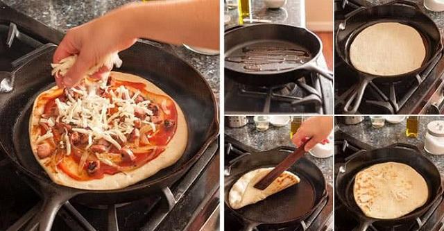 Thao tác nướng pizza trên chảo