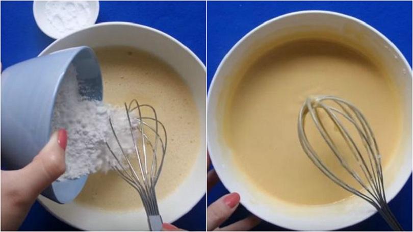 Làm bột bánh rán doremon