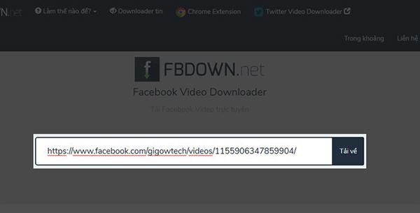 Truy cập và dán link url video tại website fbdown.net