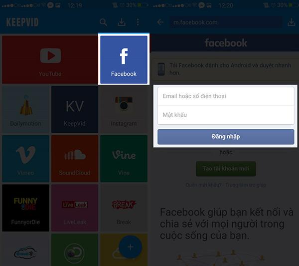 Đăng nhập tài khoản Facebook từ Keepvid
