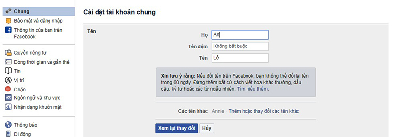 Điền tên Facebook mới và lưu để hoàn tất