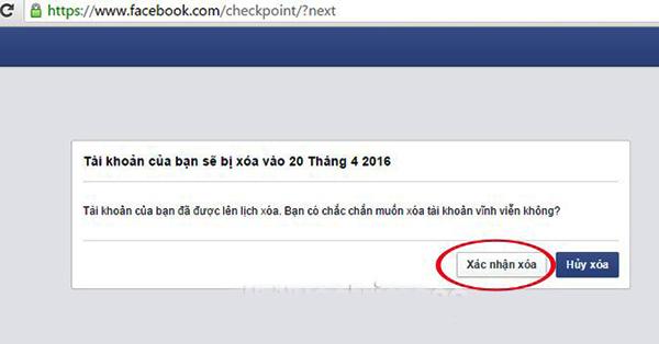 Đăng xuất để hoàn tất việc xoá tài khoản Facebook