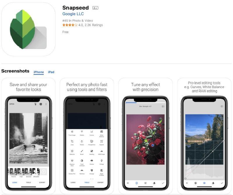 Ứng dụng phần mềm Snapseed