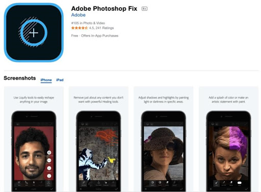 Ứng dụng phần mềm Adobe Photoshop Fix