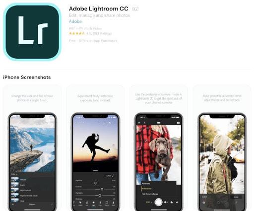 Ứng dụng phần mềm Adobe Photoshop Lightroom CC