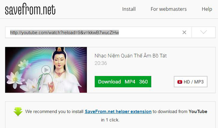 Download video bằng SaveFrom