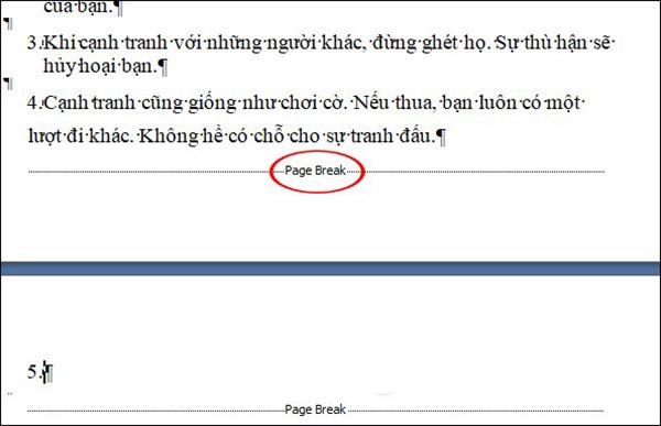 Trang trắng xuất hiện do lỗi Page break