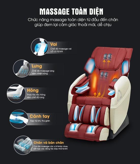 Ghế massage toàn thân Kaitashi - Công nghệ Nhật Bản