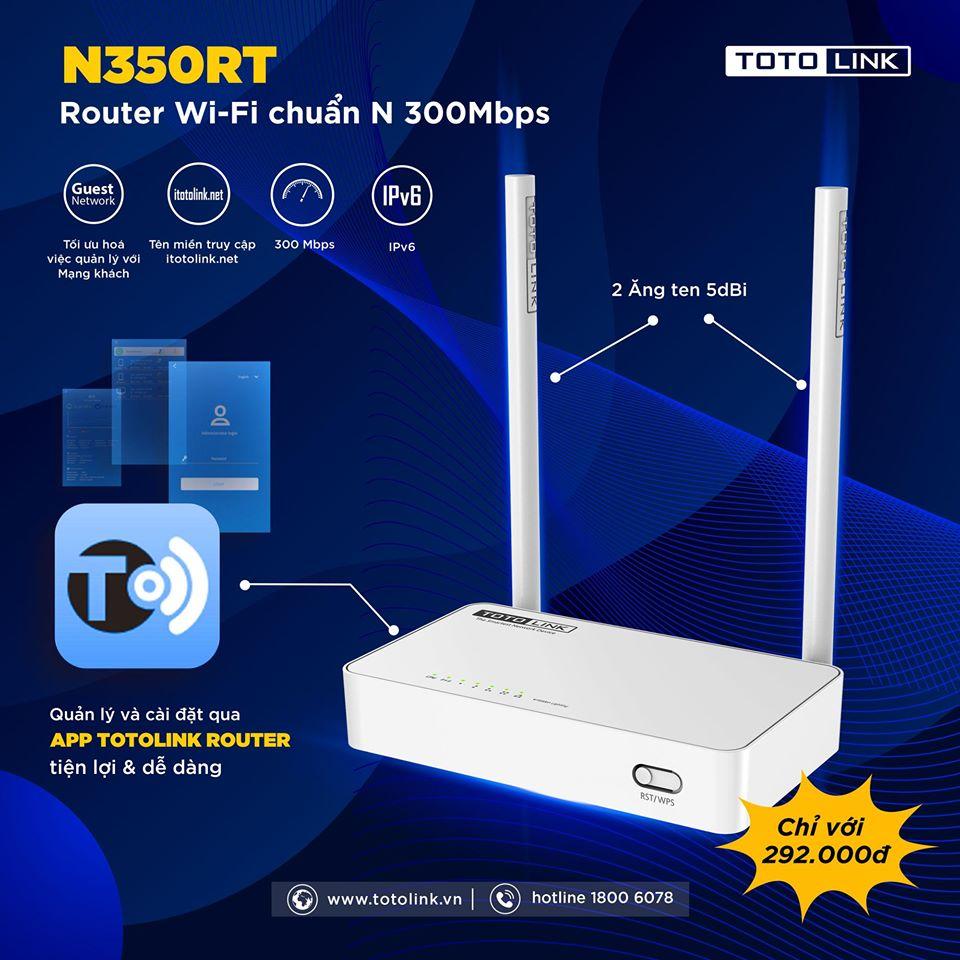 Thiết kế bên ngoài của Router Wifi Totolink N350RT