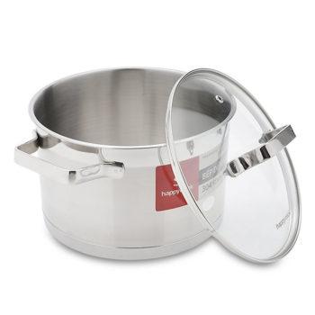 Nồi inox cao cấp 3 đáy nắp kính Happy Cook Chard Plus N16-RSP