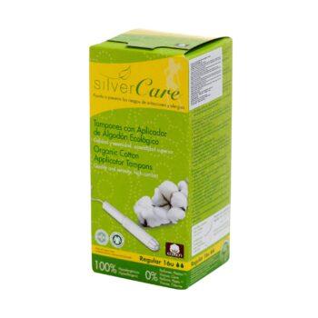 Tampon hữu cơ 2 giọt có cần đẩy Silvercare Regular