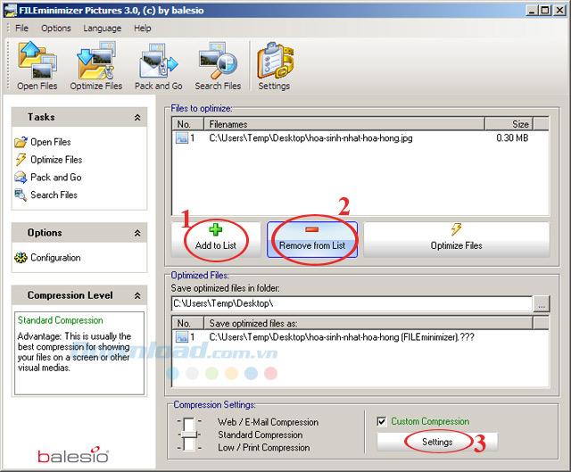 Phần mềm giảm dung lượng ảnh FILEminimizer Pictures