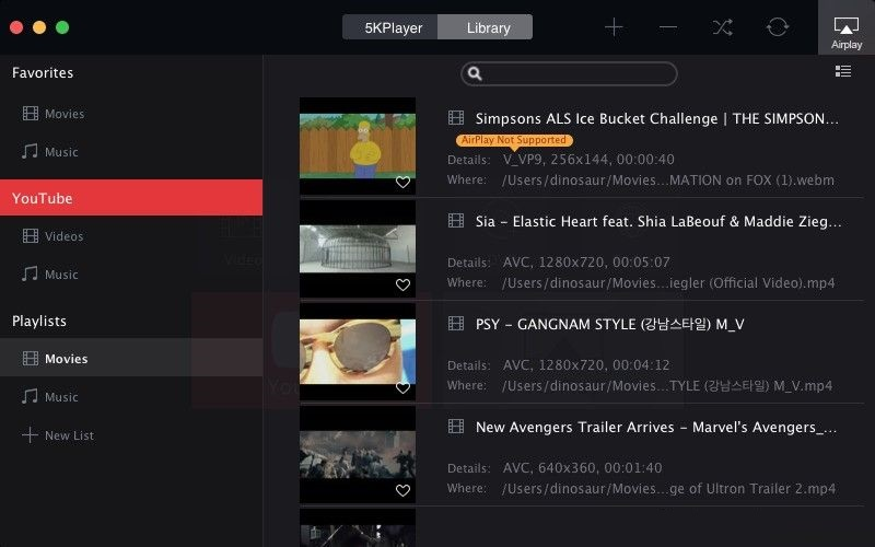 Phần mềm xem video 5KPlayer