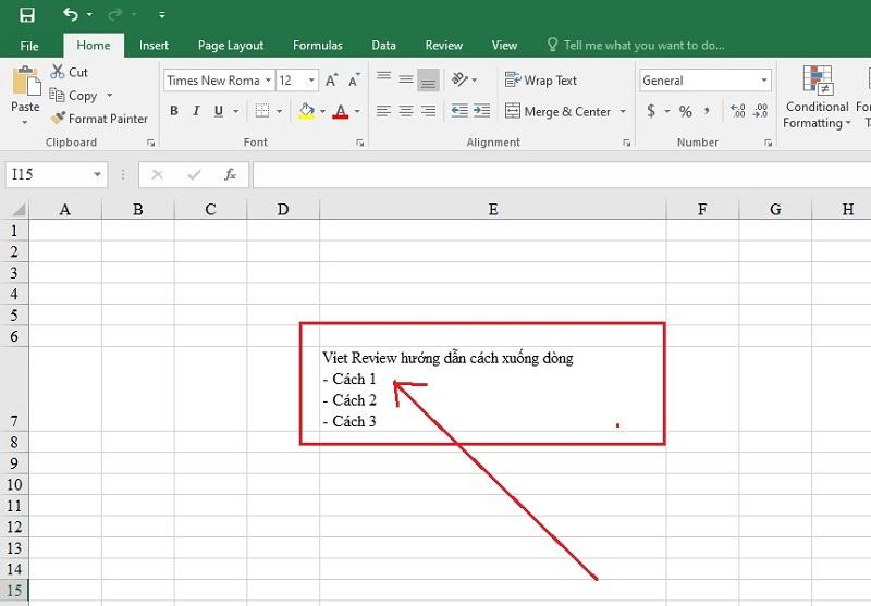 Cách xuống dòng trong Excel như thế nào?