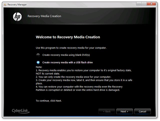Chế độ phục hồi Recovery lại Windows