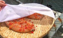 Khi phơi khô cá lóc thì nên dùng màn mỏng che lại