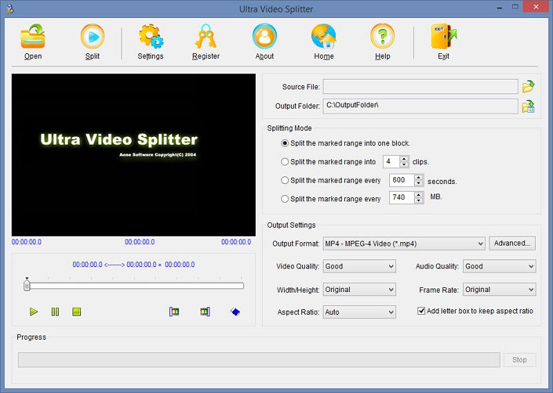 Phần mềm cắt video Ultra Video Splitter
