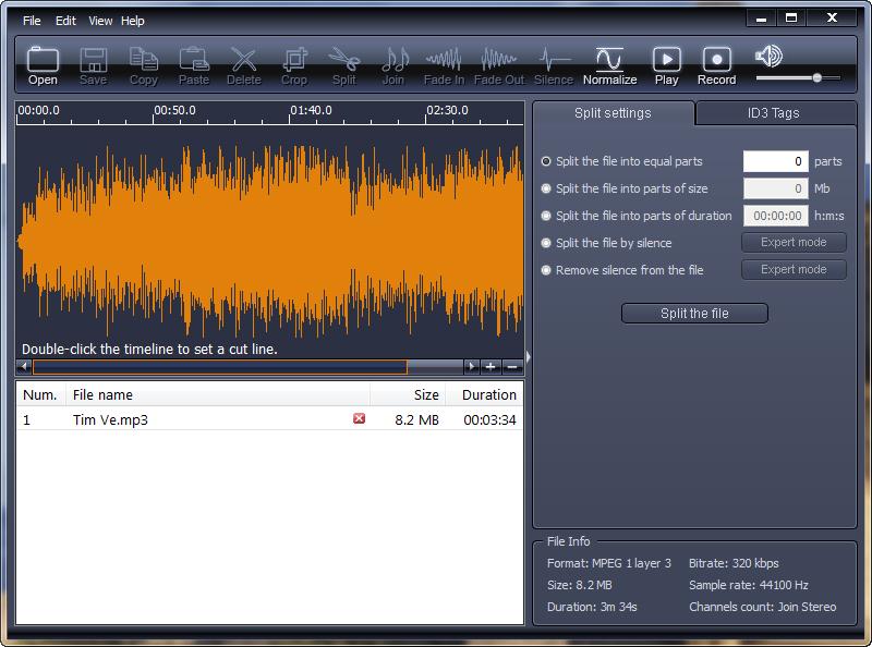 Phần mềm ghép nhạc X-Wave MP3 Cutter Joiner