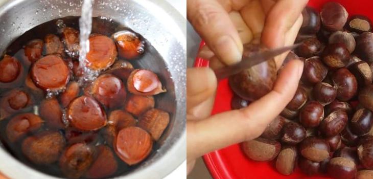 Sơ chế hạt dẻ trước khi tiến hành nướng