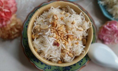 Cách nấu xôi dừa bằng nồi cơm điện
