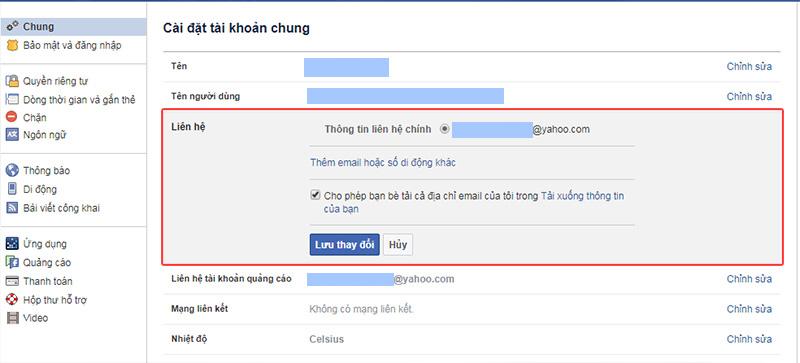 Thêm email liên lạc hợp lệ cách bảo mật facebook
