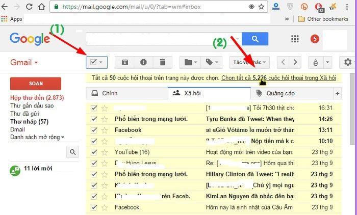 Xóa bớt thư trong Gmail để tăng dương lượng Drive