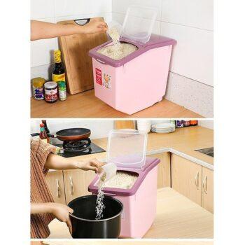 Thùng đựng gạo màu hồng