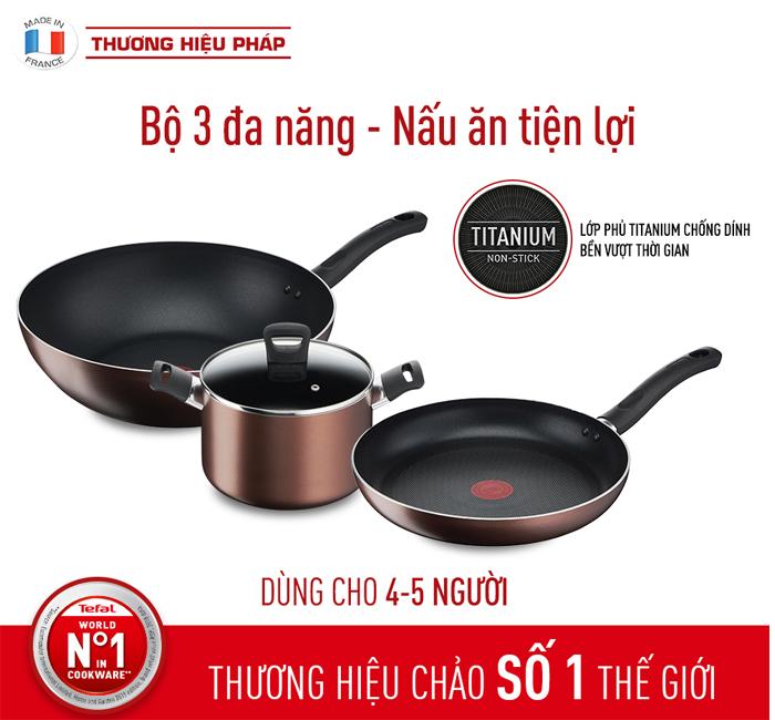 Bộ ba đa đang nấu ăn tiện lợi của thương hiệu Tefal