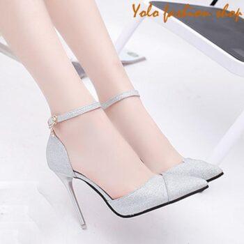 Giày cao gót nữ đế 7p gót nhọn phủ nhũ kim tuyến sang chảnh GC79