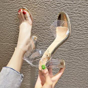 Giày cao gót 7cm nữ quai trong đế vuông hở đầu đẹp