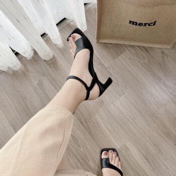 Sandal Giày Cao Gót Nữ Xỏ Ngón Nữ Đế Vuông Cao Cấp Cao 5 Phân Phong Cách Hàn Quốc