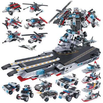 Đồ chơi lắp ráp trẻ em Tàu chiến MECH và SIEU ROBOT