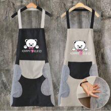 Tạp dề Funu in hình gấu có túi đựng kèm khăn lau