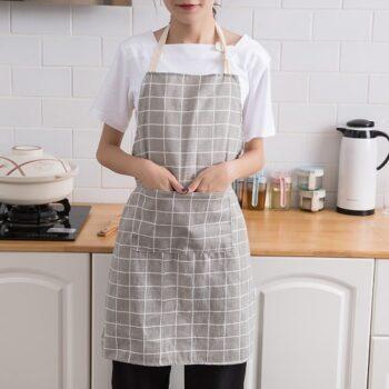 Tạp dề vải Cotton Linen phong cách Hàn Quốc tối giản