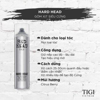 Keo xịt giữ nếp tóc siêu cứng siêu bền TIGI BedHead Hard Head Hard Hold Hair Spray