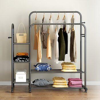 Giá treo quần áo hiện đại thép carbon 2 thanh 5 tầng Vando