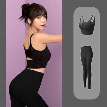 Quần áo tập Gym, Yoga, Aerobic nữ 2 món phối lưới quyến rũ