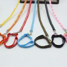 Combo dây dắt và vòng cổ vải dù nhiều màu