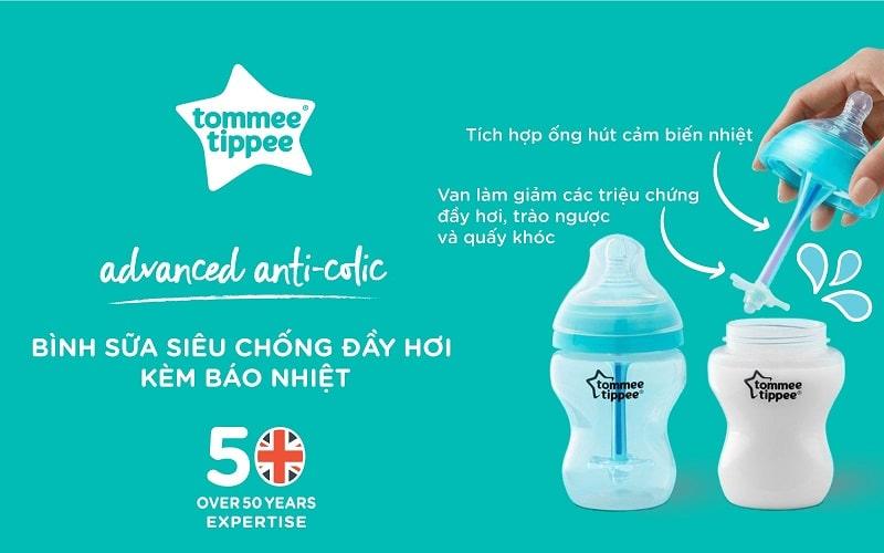 Hệ thống cảm biến nhiệt độc quyền của bình sữa Advanced Anti-Colic Tommee Tippee