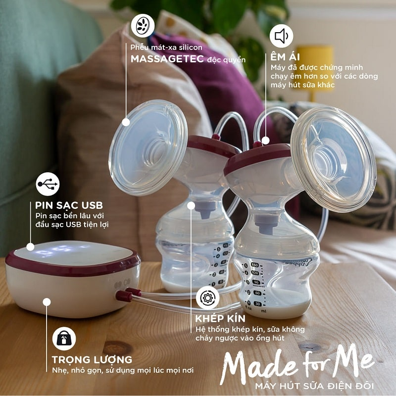 Cấu tạo các chức năng của máy hút sữa điện đôi Tommee Tippee Mada for Me