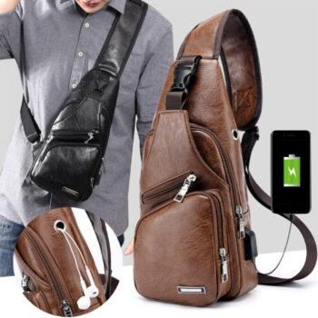 Túi đeo chéo nam chống trộm, có cổng USB