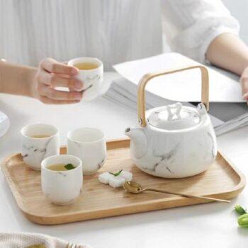 Bộ bình trà sứ men đá cẩm thạch chỉ vàng trắng CT650T