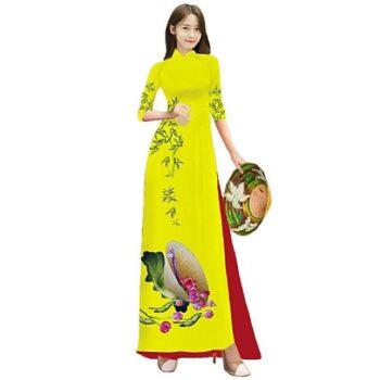 Áo dài truyền thống 3D vải lụa co giãn 4 chiều