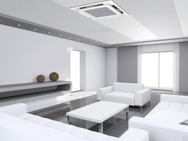 Máy lạnh âm trần đặt giữa không gian nhà có tác dụng lọc thoáng không khí